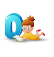 cartoon letter d with beautiful girl reading