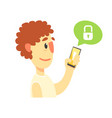 cartoon man holding smartphone protected from vector image