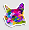 cat head on geometric pop art style sticker icon vector image vector image