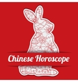 Chinese horoscope background with paper hare vector image