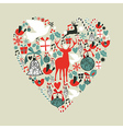 Christmas icons in love heart vector image vector image