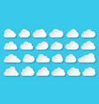 cloud network data paper cut origami web icon set vector image