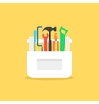 colored tools in white box with shadow vector image vector image