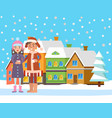 couple near snowy building and fir-tree vector image vector image