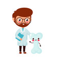 cute funny smiling doctor and healthy happy bone vector image vector image