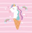 cute magical ice cream head unicorn rainbow dream vector image vector image