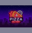delivery pizza neon sign logo in neon style vector image