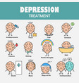 depression treatment cartoon brain character vector image
