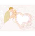 elegant wedding invitation with kissing wedding vector image vector image