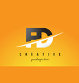 fd f d letter modern logo design with yellow vector image