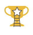 golden award cup with star and ladder vector image vector image