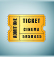 Golden cinema ticket icon isolated on blue