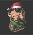 golden retriever dog wearing a santa hat vector image vector image