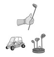 golf and attributes monochrome icons in set vector image