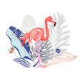 Hand drawing pink flamingo with bouquet of