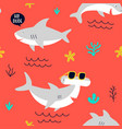 hand drawing print design little sharks seamless vector image vector image