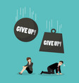 heavy balls with word give up falling to vector image vector image