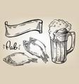 icon with mug beer fish and ribbon vector image vector image