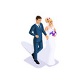 Isometrics groom and bride are going to