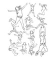kids jumping line art vector image