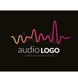Logo template sound wave studio music dj audio vector image