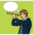 Man and telescope comic book vector image vector image