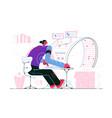 man sitting at curved monitor vector image