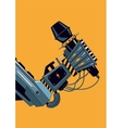 Mechanic robot hand with a microphone Rock music vector image vector image