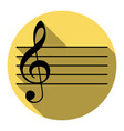 music violin clef sign g-clef flat black vector image vector image