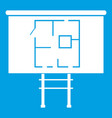project of house on a board icon white vector image vector image