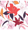 red lilies hand-drawn background summer flowers vector image