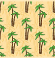 seamless pattern with cartoon palms on beach vector image vector image