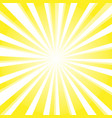 sun and rays on yellow background vector image