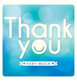 Thank You card design on blue background vector image vector image