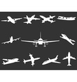 White Airplane silhouettes vector image