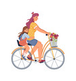 woman daughter riding on two-seater bike isolated vector image vector image