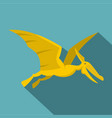 yellow pterosaurs dinosaur icon flat style vector image vector image