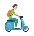 young man on scooter student ride motorcycle vector image vector image