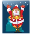 Santa wishes people a Happy New Year and Merry vector image