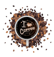Hot Coffee with I Love Coffee Word vector image