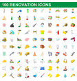 100 renovation icons set cartoon style vector image