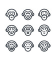 apes monkey chimp linear icons over white vector image vector image