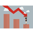 Bar graph down with desperate business woman vector image vector image
