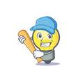 baseball light bulb character cartoon vector image vector image
