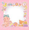 bashower design template bagirl with toy vector image
