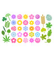 big set of flowers and leaves in simple cartoon vector image