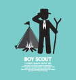 Boy Scout Standing In Front Of Tent And Bonfire vector image