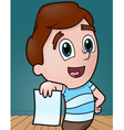 boy with copy space paper vector image vector image