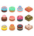 cake sign 3d icon set isometric view vector image vector image