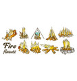 campfire collection different ink color set vector image vector image